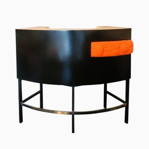 Cocktail Bar in Lacquered Wood with Steel Legs & Orange Light, 1960s