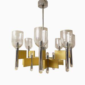 Geometrischer Mid-Century Kronleuchter mit 8 Lampen von Gaetano Sciolari