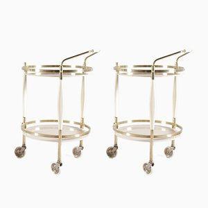 Italian Brass & Tinted Glass Serving Trolleys, 1950s, Set of 2