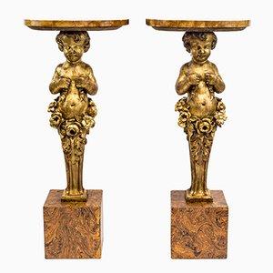 Konsolentische aus geschnitztem & vergoldetem Holz, 19. Jh., 2er Set