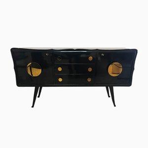 Mid-Century Italian Black & Gold Mirrored Sideboard, 1950s