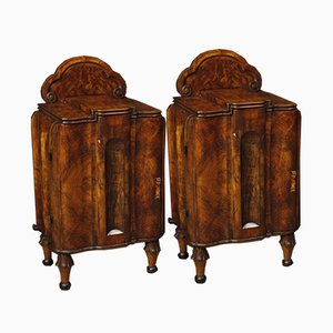 Art Deco Burl & Walnut Bedside Tables, Set of 2, 1950s
