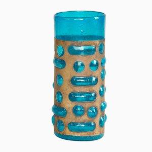 Biot Glass & Brass Vase by Verrerie de Biot, 1960s