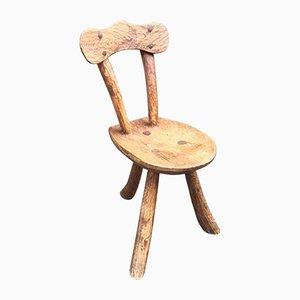 Französischer brutalistischer vintage Ulmenholz Stuhl