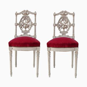 White Louis XVI Style Chairs with Red Trim, 1880s, Set of 2