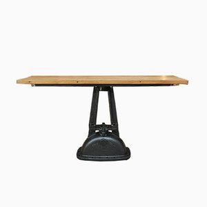 Industrial Cast Iron Console Table with Oak Tabletop