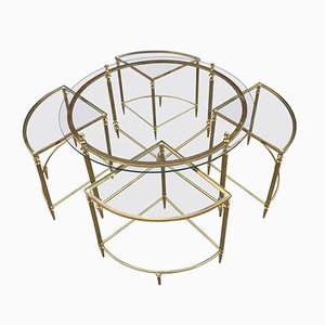 Gilt Metal Gueridon with Nesting Tables from Maison Baguès, 1970s