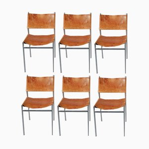 Leather Dining Chairs by Martin Visser for 't Spectrum, 1950s, Set of 6