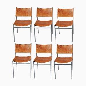 Leder Esszimmerstühle von Martin Visser für 't Spectrum, 1950er, 6er Set