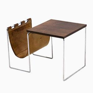 Leather & Chrome Side Table with Magazine Rack from Brabantia, 1970s