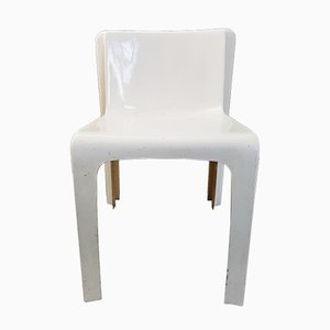 French Space Age White Fiberglaas Chair by Gérard Le Fé for Prisunic, 1970s