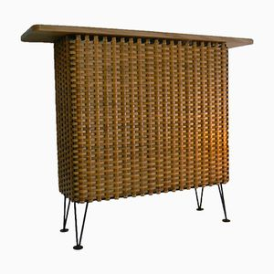Danish Wicker Bar with Hairpin Legs, 1950s