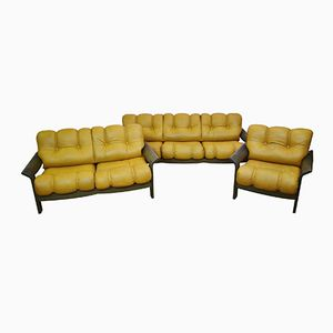 Mid-Century Leather Living Room Set, 1970s