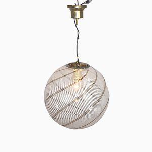 Vintage Murano Glass & Fabric Lamp by Massimo Vignelli for Venini, 1970s