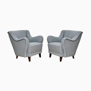 Mid-Century Grey Lounge Chairs, 1950s, Set of 2