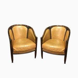 Art Deco Oak Armchairs, Set of 2