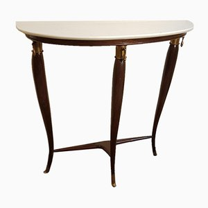 Wood, Brass & Marble Side Table by Franco Buzzi, 1950s