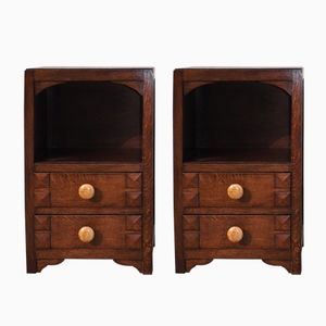 Art Deco Oak Nightstands, 1940s, Set of 2