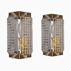 Brass and Glass Sconces from Facette, 1970s, Set of 2