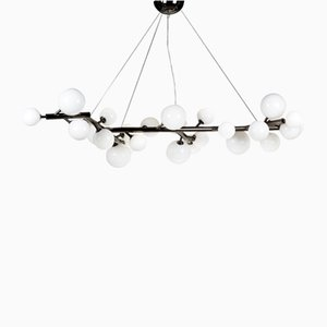 Black Nickeled Mimosa Chandelier with 27 Lights in White Milk Glass by Alberto Dona