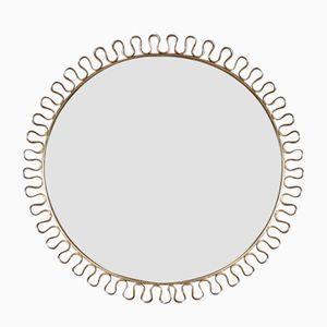 Mid-Century Spiegel mit Messingrahmen & Schlaufen