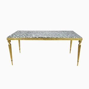 Hollywood Regency Brass & Marble Coffee Table, 1950s