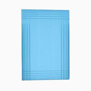 Blauer vintage Spiegel, 1970er