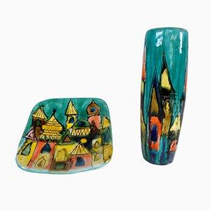 Vase und Untertasse aus lackierter Keramik von Elio Schiavon, 1950er