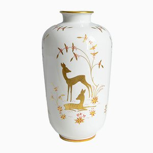 Vintage Deer and Owl Porcelain Vase by Greiner for Heinrich