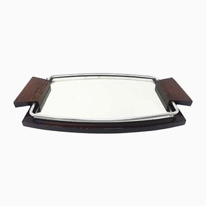 Vintage Mirrored Wooden Tray, 1930s