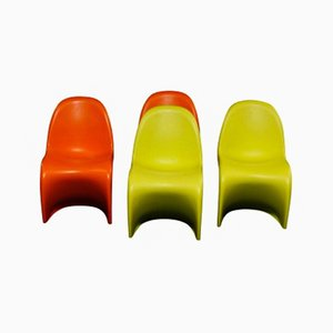 Vintage Orange & Green Children's Chairs by Verner Panton for Vitra, Set of 4