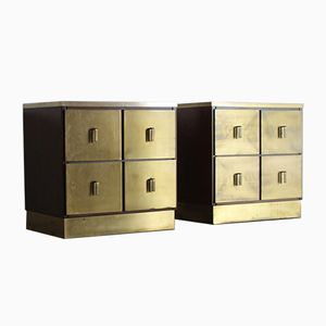 Golden Bedside Tables by Luciano Frigerio, 1970s, Set of 2