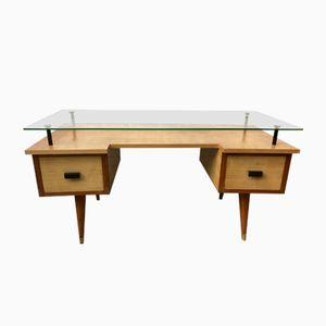 Britischer vintage Schreibtisch mit Glasplatte