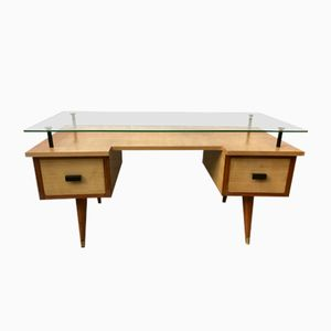 Vintage British Desk with Glass Top