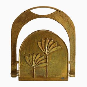 French Art Deco Magazine Rack in Brass, 1910s