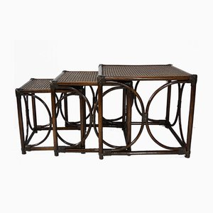 Rattan & Cane Nesting Tables, 1960s