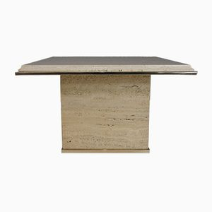 Travertine and Brass Coffee Table from Fedam, 1970s