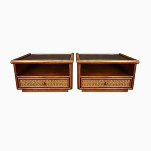 Rattan, Cane and Black Leatherette Nightstands, 1960s, Set of 2