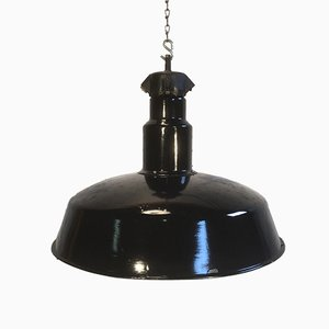 Industrial Mid-Century Black-Enameled Factory Lamp, 1950s