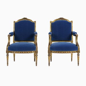 Antique Louis XVI Armchairs, 1880s, Set of 2