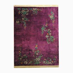 Chinesischer handgeknüpfter Art Deco Blumen Teppich, 1920er
