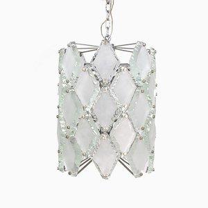 Hängelampe aus gehämmertem Glas mit 12 Leuchten, 1960er