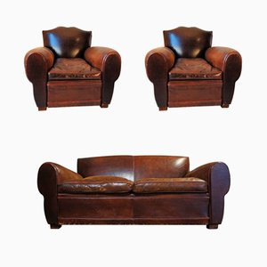 Antique French Moustache Back Club Chairs & Sofa