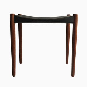 Mahogany & Leather Stool by Ejnar Larsen & Aksel Bender for Willy Beck, 1950s