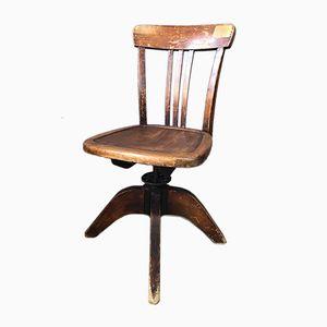 Sedia da scrivania vintage industriale in legno