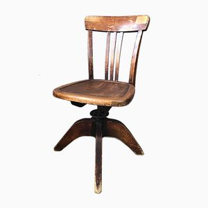 Vintage Wooden Industrial Desk Chair