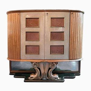 Mid-Century Italian Parchment Bar Cabinet, 1940s