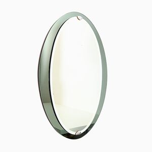 Italian Oval Wall Mirror with Gray and Green Mirrored Frame from Veca, 1960s