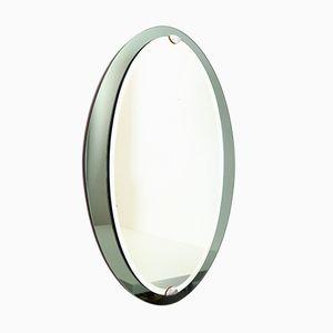 Specchio da parete ovale con cornice specchiata griga e verde di Veca, Italia, anni '60