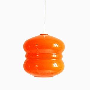 Italian Orange Glass Pendant Lamp, 1970s